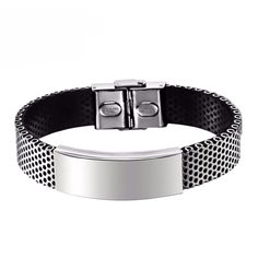 Elegant Bracelet With Titanium Stainless Steel and Black Silicone Band