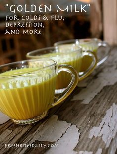 """""""Golden milk"""" for cold, flus, depression, and more (in a recipe that actually tastes good.) - curcuma et gingembre Healthy Drinks, Healthy Recipes, Detox Drinks, Nutrition, Natural Home Remedies, Health Remedies, Herbal Remedies, Cough Remedies, Sore Throat Remedies"""