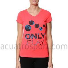 Camiseta Only Play de algodón para mujer en color rosa con estampado en azul.   Diseño en cuello en pico y manga corta.   Composición: 100% algodón. Only Play, Color Rosa, Tees, Mens Tops, T Shirt, Women, Fashion, Blue, T Shirts
