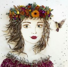 Sister Golden Balance Twigs And Flowers To Create Intricate Portraits Out Of Mother Nature. Photo 3d, Deco Nature, Pressed Flower Art, Arte Floral, Art Graphique, Nature Crafts, Art Plastique, Face Art, Medium Art