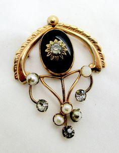 Antique 12k Gold Filled Paste Rhinestone Faux Pearls Pin Pendant Providence Stock Company Art Deco Era