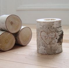 personalized natural white birch candle holder  by urbanplusforest, Etsy.