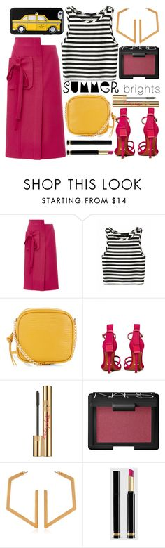 """""""go bright!"""" by foundlostme ❤ liked on Polyvore featuring Monique Lhuillier, New Look, Schutz, Yves Saint Laurent, NARS Cosmetics, Marni, Gucci, Kate Spade, stripes and midiskirt"""