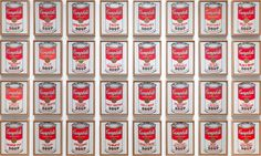 "Andy Warhol. Campbell's Soup Cans. 1962. Synthetic polymer paint on thirty-two canvases, each canvas: 20 x 16"" (50.8 x 40.6 cm). The Museum of Modern Art, New York. Partial gift of Irving Blum. Additional funding provided by Nelson A. Rockefeller Bequest, gift of Mr. and Mrs. William A. M. Burden, Abby Aldrich Rockefeller Fund, gift of Nina and Gordon Bunshaft in honor of Henry Moore, Lillie P. Bliss Bequest, Philip Johnson Fund, Frances R. Keech Bequest, gift of Mrs. Bliss Parkinson, and…"