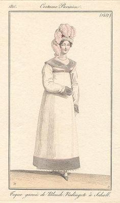 White redingote trimmed with grey. 1815 costume parisien