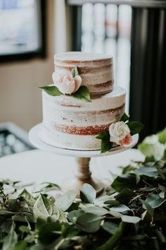 Two tier semi-naked wedding cake. Bridalbliss.com | Portland Wedding Planner | Oregon Event Design | Olivia Strohm Photography