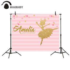 Allenjoy Birthday backdrop celebration background ballet girl dots pink stripes photocall photography studio funds