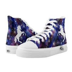 Galaxy purple beautiful unicorn starry sky pattern High-Top sneakers (£83) ❤ liked on Polyvore featuring shoes, sneakers, high-top sneakers, star shoes, print sneakers, hi tops and purple hi tops
