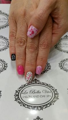 BARBIE nails #decals #handpainted #shellacnails #ilovewhatido #barbienailart
