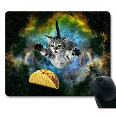 f8aa42bb618 Curious Cat Flying Through Space Reaching for a Taco in Galaxy Space  Hilarious Mouse Pad -