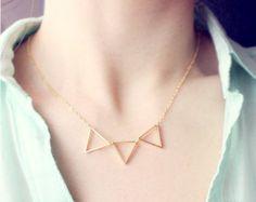triad - gold triangle necklace - geometric jewelry