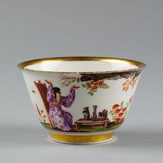 Tea bowl, Meissen porcelain factory, 1723-1725. Possibly painted by J.G. Höroldt. Museum no. C.119-1940