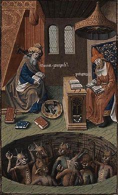 The Hague, MMW, 10A 11, detail of fol. 353v ('Numa Pompilius and Pythagoras by mystification of the devils resort to hydromancy; devils in hell'). Augustine, La Cité de Dieu (Vol. I). Translation from the Latin by Raoul de Presles. Paris; c. 1475 (c.) c. 1478-1480