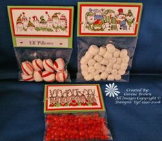 Cute Class Christmas treats - Elf pillows (peppermints), reindeer noses (small red candies) & snowman poop (mini-marshmallows)