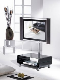 "TV-Möbel Rack ""J27 BLACK"" / Stahl & Chrom & Glas / neu LCD Plasma in Möbel & Wohnen, Möbel, TV- & HiFi-Tische | eBay Tv Rack, Flat Screen, Living Room, Audio, Products, Tv Media Stands, Tv Units, Tables, Corning Glass"
