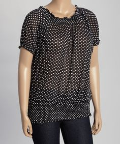 268bb9d66ca Allie   Rob Black   White Dot Shirred Blouson Top - Plus