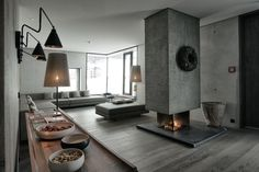 Raw concrete modern fireplace design - Home Decorating Trends - Homedit Best Interior Design, Home Interior, Interior Design Living Room, Interior Architecture, Interior Decorating, Decorating Ideas, Luxury Interior, Installation Architecture, Concrete Architecture