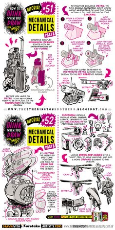 How to draw MECHANICAL DETAILS tutorial by STUDIOBLINKTWICE