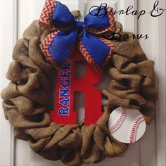 Texas Rangers wreath baseball wreath  by TheLittleChandelier