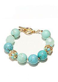 Lauren Ralph Lauren Round Turquoise Bead Bracelet