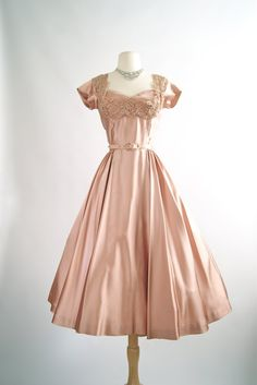 Vintage 1950s Rosewood Satin Cocktail Dress  by xtabayvintage  #vintagedress #1950sdress