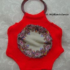 Hexagon Panel Hand Crocheted Handbag with Vintage Embroidered Panel £14.00