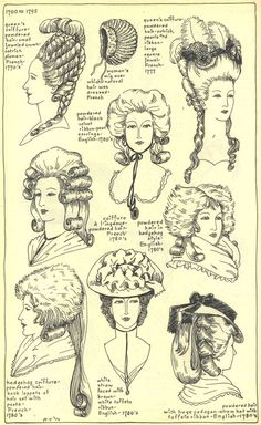 Diverses coiffures - 1700 à 1795