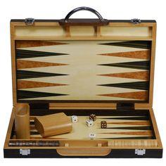 Black Zebra Wood Backgammon Set - 23-3415