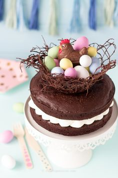 Torta nido di Pasqua. Easter recipe- Mud Cake. easter egg nest cake. noodles nest. Meri Meri party