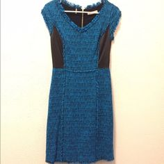 Rebecca Taylor Blue tweed leather dress S Rebecca Taylor dress in excellent condition. Worn only once. I believe it's a size 4 but I can't find the tag that says the size. Has an inside lining. Very comfortable Rebecca Taylor Dresses Midi