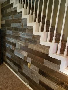Peel and Stick Wood Wall Planks . Very Simple and Quick installation! no nails or glue used! Wood Floor On Wall, Stick On Wood Wall, Peel And Stick Wood, Wood Sticks, Stairway Walls, Wood Staircase, Staircase Remodel, Stairs, Staircase Design