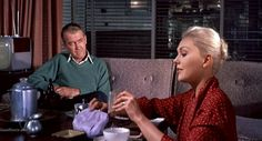 "James Stewart and Kim Novak in ""Vertigo"" (1958)"