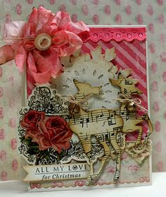 Grungy Music Sheet Reindeer Card...with button, bow, & jingle bell.