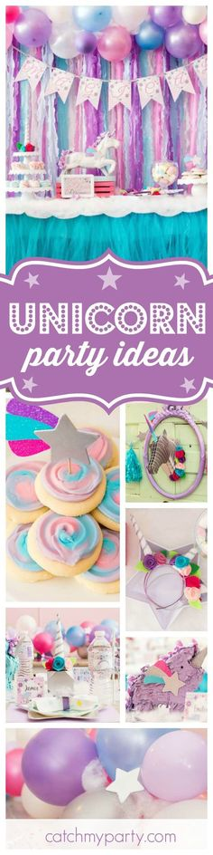 You're going to love this Magical Unicorn birthday party! The dessert table and table settings are gorgeous!! See more party ideas and share yours at http://CatchMyParty.com