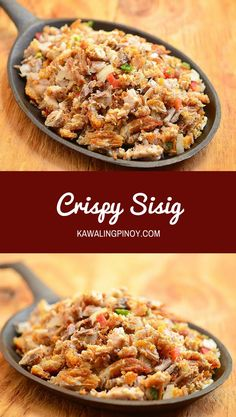 Crispy Sisig is the perfect use for your leftover lechon kawali! A delicious medley of tangy, spicy and crispy, it's great for family dinner meals as well as a party appetizer. via sisig recipe filipino food Crispy Sisig Pinoy Food Filipino Dishes, Filipino Appetizers, Filipino Recipes, Best Appetizers, Asian Recipes, Appetizer Recipes, Filipino Food Party, Filipino Pancit, Thai Recipes