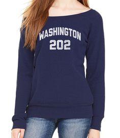 Women's Washington DC 202 Area Code Scoop Neck Fleece - Juniors Fit
