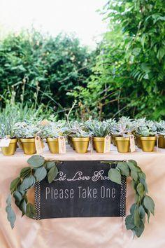 Potted plant favors: http://www.stylemepretty.com/canada-weddings/ontario/toronto/2015/03/25/colorful-summer-wedding-at-the-miller-lash-house/   Photography: Lavish & Light - http://www.lavishandlight.com/