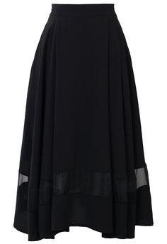 Organza Panel Midi Skirt in Black