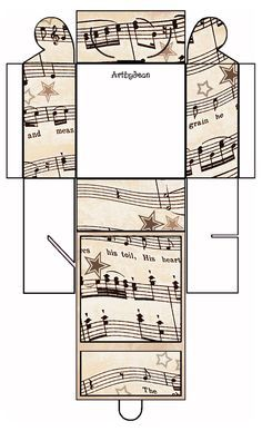 ArtbyJean - Vintage Sheet Music: Printable Gift Boxes - Ready to Print all with a vintage sheet music theme Sheet Music Art, Music Paper, Vintage Sheet Music, Vintage Sheets, Vintage Paper, Printable Box, Templates Printable Free, Printable Vintage, Free Printables