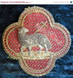 Antique French Embroidered Agnus Dei Vestment Applique