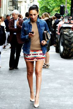 camel sweater / jean jacket / navajo print short skirt / nude heels