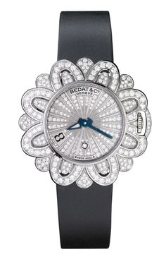 Bedat & Co Ref. Extravaganza Collection, Palladium White Gold Case set with Diamonds, Blued Steel Hand and Rolled-Edge Satin Strap Cute Watches, Watches For Men, Ladies Watches, Women's Watches, Motif Floral, Telling Time, Fantasy Jewelry, Beautiful Watches, Watch Brands