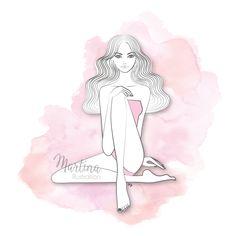 pretty pink girl figure illustration