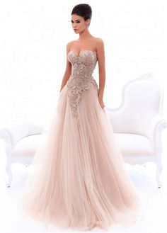 217f77c63be0 Sophisticated Tulle Sweetheart Neckline A-line Prom Dress With Beaded Lace  Appliques Abiti Glamour