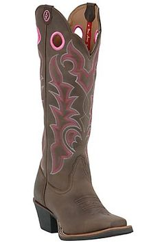 "Tony Lama 3R Ladies 16"" Chocolate w/ Pink Stitch Square Toe Western Boot, WANT THESE!!"