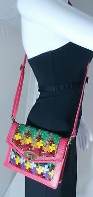 Mary Frances Cross Embellished Mini Cross body Bag in Multicolor