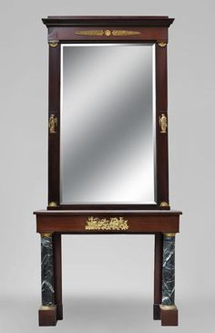 Beautiful Empire style fireplace in mahogany wood and Sea Green marble with its overmantel mirror