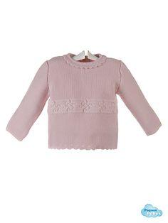 Detalle del jersey  del conjunto para bebé  .pequesybebes.es/conjuntos-bebe-nino-nina-invierno/481-conjunto-bebe-jersey-polaina-capota-lana-rosa.html