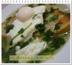 It´s made with bread , eggs ,garlic and coriander. Sometimes we add codfish