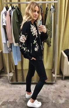 Flower bomber jacket-Create, save and share your outfits with our fashion app Clothe to Me https://itunes.apple.com/fr/app/clothe-to-me/id916528299?mt=8